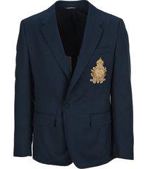 dolce & gabbana dolce & gabbana silk and wool portofino jacket with patch embellishment