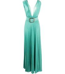 elisabetta franchi belted maxi dress - blue