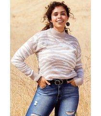 maurices womens zebra print mock neck pullover sweater beige