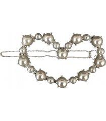 presilha clip narcizza coração vazado com pérolas metal prata - kanui