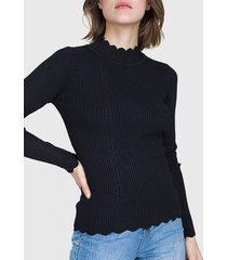 sweater io tipo beatle negro - calce ajustado