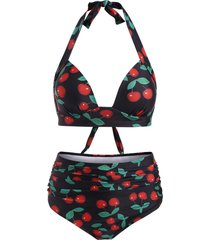 cherry print high waisted ruched bikini swimsuit