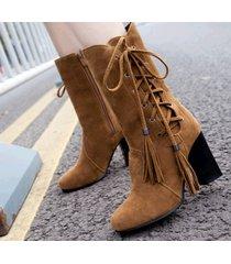 pb176 sweet lace up.zipper knight booties, block heels, us size 3-10.5, brown