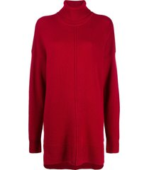 isabel marant knitted turtleneck mini dress - red