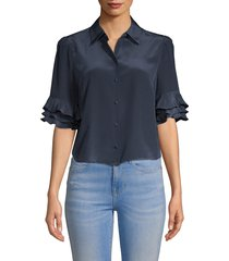 frame women's ruffle sleeve top - dark navy - size m