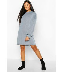 acid wash rib oversized lounge dress, blue