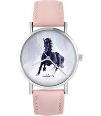 zegarek - czarny koń - skóra, pudrowy róż