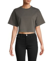 frame women's roundneck cotton cropped top - faded noir - size m