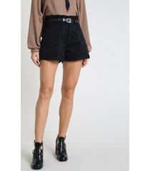 short de sarja feminino clochard cintura alta com cinto preto