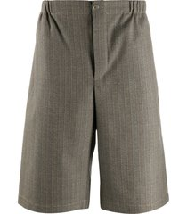 gucci striped tailored wool shorts - brown