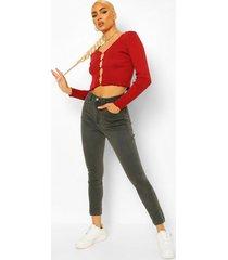 skinny jeans met hoge taille, grijs