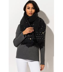 akira hella good scarf with pearl embellishment