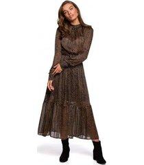 lange jurk style s239 kokerjurk met ceintuur - zwart