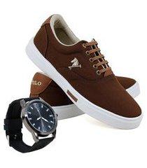 kit sapatênis casual masculino polo joy sport + relógio azul escuro 37 marrom