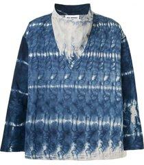 hed mayner tie-dye wide-collar shirt - blue