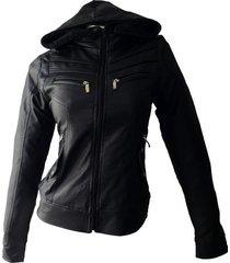 chaqueta de cuero sintético para  mujer con capota cuerotex