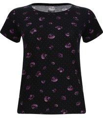 camiseta mujer flores y puntos color negro, talla s