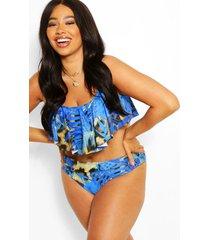 plus tropical print frill high waist bikini, blue