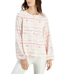 alfani printed textured balloon-sleeve button-front top, created for macy's