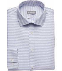 michael kors men's blue check slim fit dress shirt - size: 17 36/37