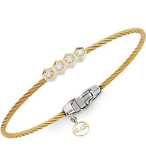 18k gold, stainless steel & diamond bracelet
