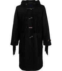 doublet fringe duffle coat - black