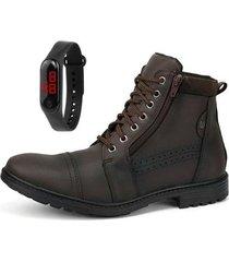bota coturno casual zíper sapatofran perfuros com relógio masculino