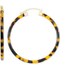 simone i. smith large tortoise shell-look lucite hoop earrings in 18k gold-plated sterling silver