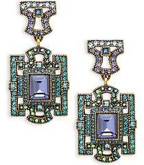 deco windowpane drop earrings