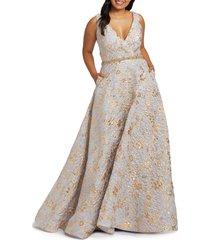 plus size women's mac duggal floral metallic brocade prom dress with train, size 20w - grey