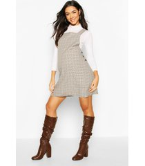 maternity grow with me flannel pinafore dress, brown