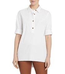 lafayette 148 new york stretch cotton boyes shirt - tangerine - size xs