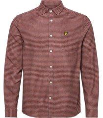 brushed cotton tweed check shirt skjorta casual orange lyle & scott