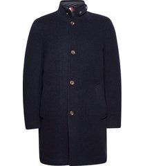 stand up collar padded coat wollen jas lange jas blauw tommy hilfiger