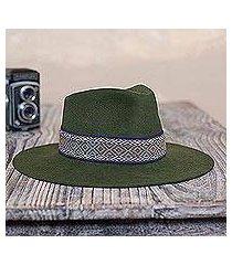 alpaca and wool blend felt hat, 'munay in olive' (peru)