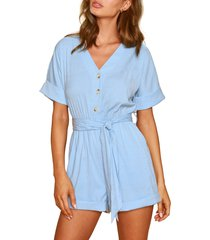 women's lost + wander cuff tie waist romper, size x-small - blue