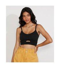 top cropped feminino texturizado com vazado alça fina decote redondo preto