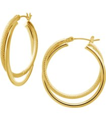 smooth & textured small double hoop earring in gold plate