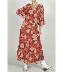 vestido para mujer tennis, largo y estampado de flores rosadas