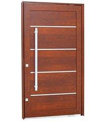 porta pivotante direita com friso, lambri horizontal e puxador aluminium 223,5x126,2cm madeira