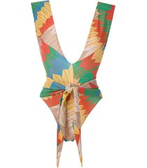 amir slama front tie printed swimsuit - multicolour