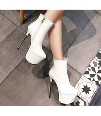 pb200 luxury 16 cm heels booties, patent leather us size 2-10.5, white