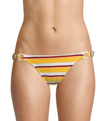 solid and striped women's the tilda striped terry ring bikini bottom - yellow - size xl