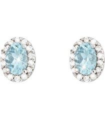 orecchini in oro bianco , con acquamarina 0,80 ct e diamanti 0,21 ct per donna