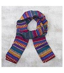 100% alpaca knit scarf, 'sierra rainbow' (peru)
