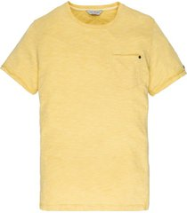 cast iron t-shirt geel ronde hals borstzak