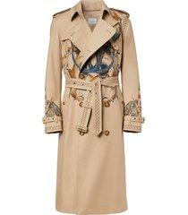 burberry marine sketch-print trench coat - neutrals