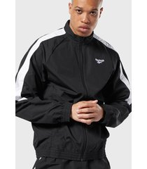 chaqueta reebok cl trackjacket negro - calce regular