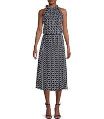 boss hugo boss women's deromance print blouson midi dress - navy flower - size xl