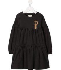 douuod kids fringe logo tiered dress - black